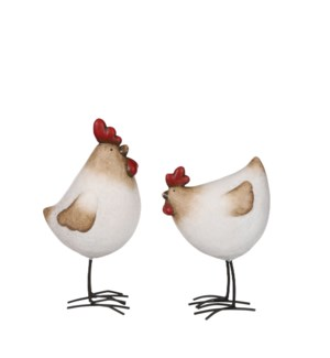 Rooster chicken white 2 assorted - 6x4x9.5""
