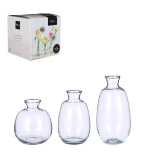Gina vase transparent 3 pieces in giftbox - h17,5xd9cm