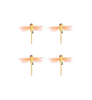 Clip dragonfly yellow 4 pieces - 2.25x3.75x0.5""