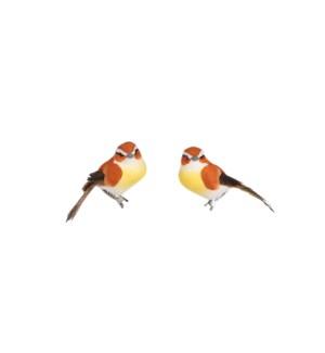 "Clip bird orange 2 pieces - 3.75x1.5x2"""
