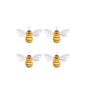 Clip bee yellow 4 pieces - 1.5x3.25x0.75""