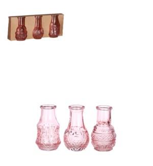 """Dax single flower vase pink 3 pieces - 2.25x3.25"""""""