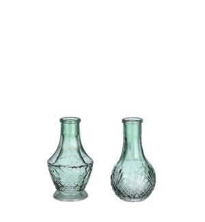 Dax single flower vase green 2 assorted - 2.25x5""