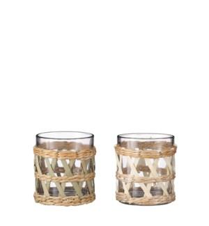"""Tealight holder glass 2 assorted - 3.5x4"""""""