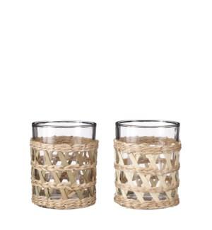 """Tealight holder glass 2 assorted - 4x5"""""""