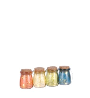 Jar 4 assorted 4 led battery operated display - 2.25x3""