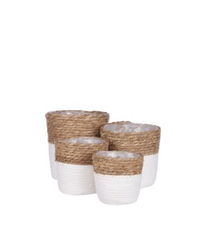 Rachel basket round off white set of 4 - 7x7""