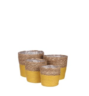 Rachel basket round d. yellow set of 4 - 7x7""