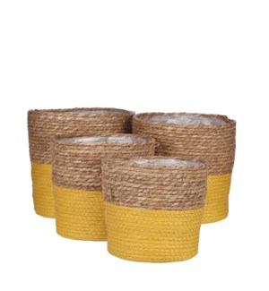 Rachel basket round d. yellow set of 4 - 9.75x9.75""