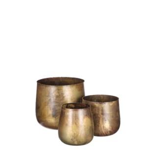"Pot round gold set of 3 - 7x6.5"""