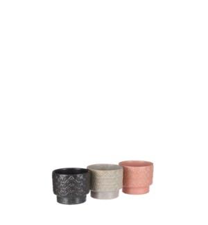 """Helen pot round cream black orange 3 assorted - 4.25x3.5"""""""
