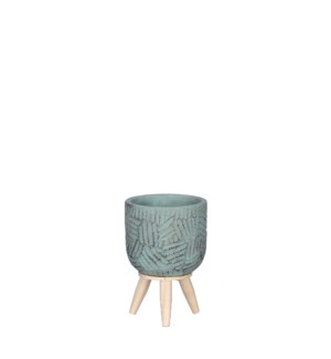 """Gaby pot on stand turquoise - 4.25x6"""""""