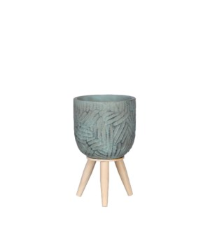 """Gaby pot on stand turquoise - 5.5x9"""""""