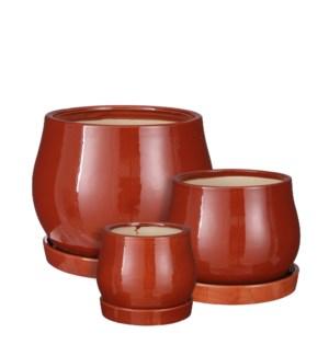 "Aldo pot round with saucer d. brown set of 3 - 11.25x9"""