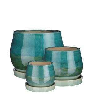 "Aldo pot round with saucer mint green set of 3 - 11.25x9"""