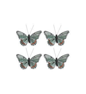 """Clip butterfly green 4 pieces - 2x3.75x0.75"""""""