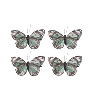 """Clip butterfly green 4 pieces - 2.25x4.5x0.75"""""""
