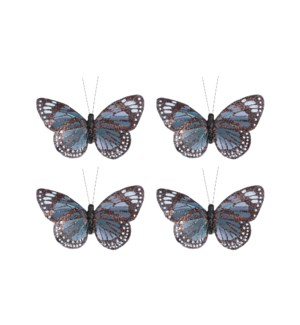 """Clip butterfly blue 4 pieces - 2.25x4.5x0.75"""""""