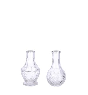 Dax single flower vase glass 2 assorted - 2.25x5""