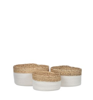 Torba basket round white set of 3 - 10.25x5.5""