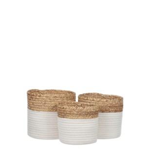 "Torba basket round white set of 3 - 8.75x8"""