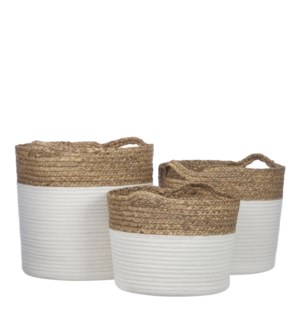 Torba basket round white set of 3 - 13x12.5""