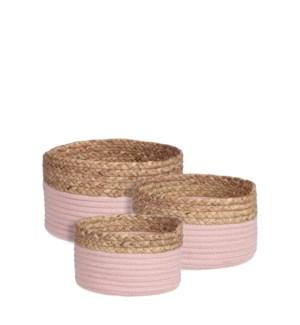 """Torba basket round l. pink set of 3 - 10.25x5.5"""""""