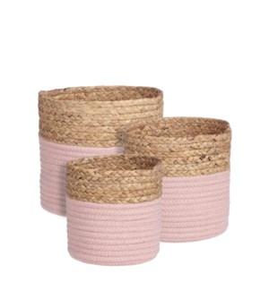 """Torba basket round l. pink set of 3 - 8.75x8"""""""