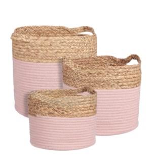 """Torba basket round l. pink set of 3 - 13x12.5"""""""