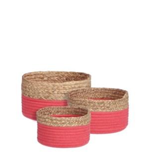 "Torba basket round d. pink set of 3 - 10.25x5.5"""