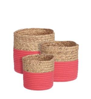 "Torba basket round d. pink set of 3 - 8.75x8"""