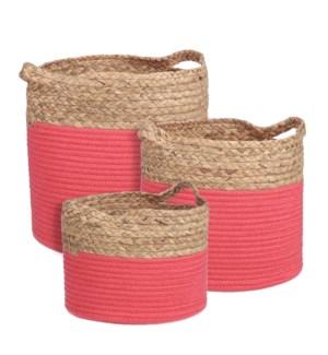 "Torba basket round d. pink set of 3 - 13x12.5"""
