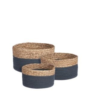 "Torba basket round blue set of 3 - 10.25x5.5"""