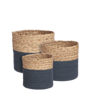 Torba basket round blue set of 3 - 8.75x8""