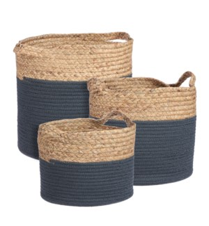 Torba basket round blue set of 3 - 13x12.5""