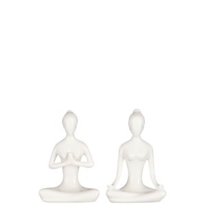 """Sculpture white 2 assorted yoga lady - 4.25x2.5x6"""""""