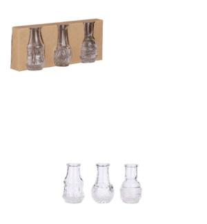 "Dax single flower vase glass 3 pieces - 2.25x3.25"""