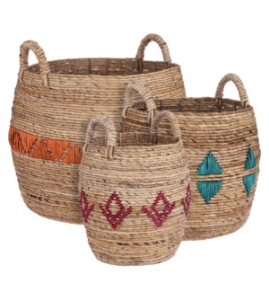 Basket brown set of 3 - 20.5x20""