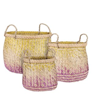 Basket round pink set of 3 - 15.75x11.75""