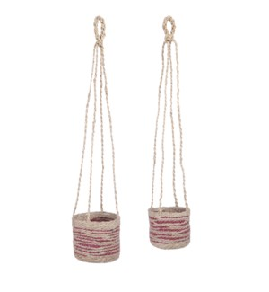 Delmonto basket hanging off white set of 2 - 6.25x6.25""