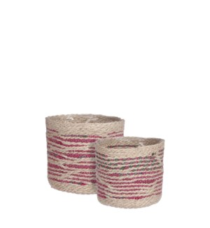 Delmonto basket off white set of 2 - 8x8""