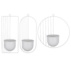Burel wall pot white 3 assorted - 13.5x5.25x14.25""