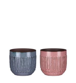 Floor pot round pink blue 2 assorted - 4.75x4.25""