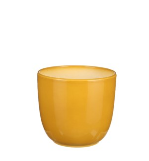 "Tusca pot round ochre - 6.75x6.25"""