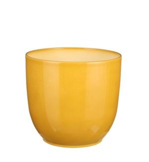 "Tusca pot round ochre - 8.75x8"""