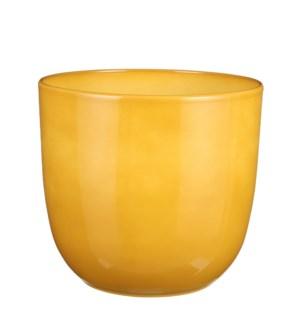 "Tusca pot round ochre - 11x9.75"""