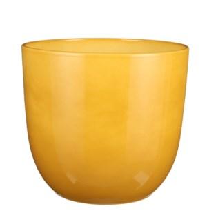 "Tusca pot round ochre - 12.25x11.25"""