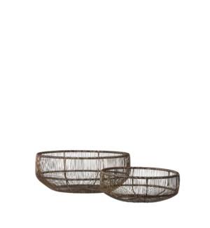 """Basket gold antique set of 2 - 11.75x4.75"""""""