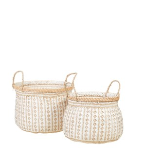 "Safari basket white set of 2 - 15.75x11.75"""