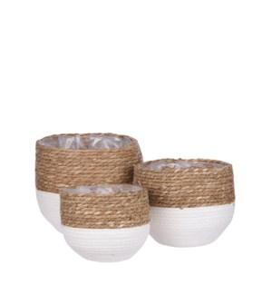 "Jorck basket round off white set of 3 - 10.25x9.5"""